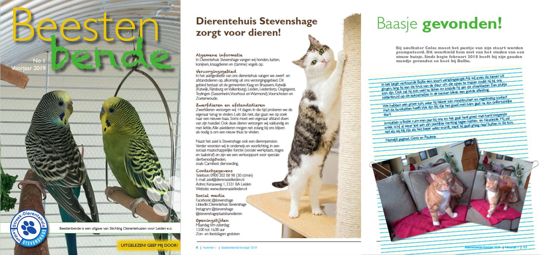 De voorjaarseditie van Beestenbende, het asielmagazine van Dierentehuis Stevenshage in Leiden.