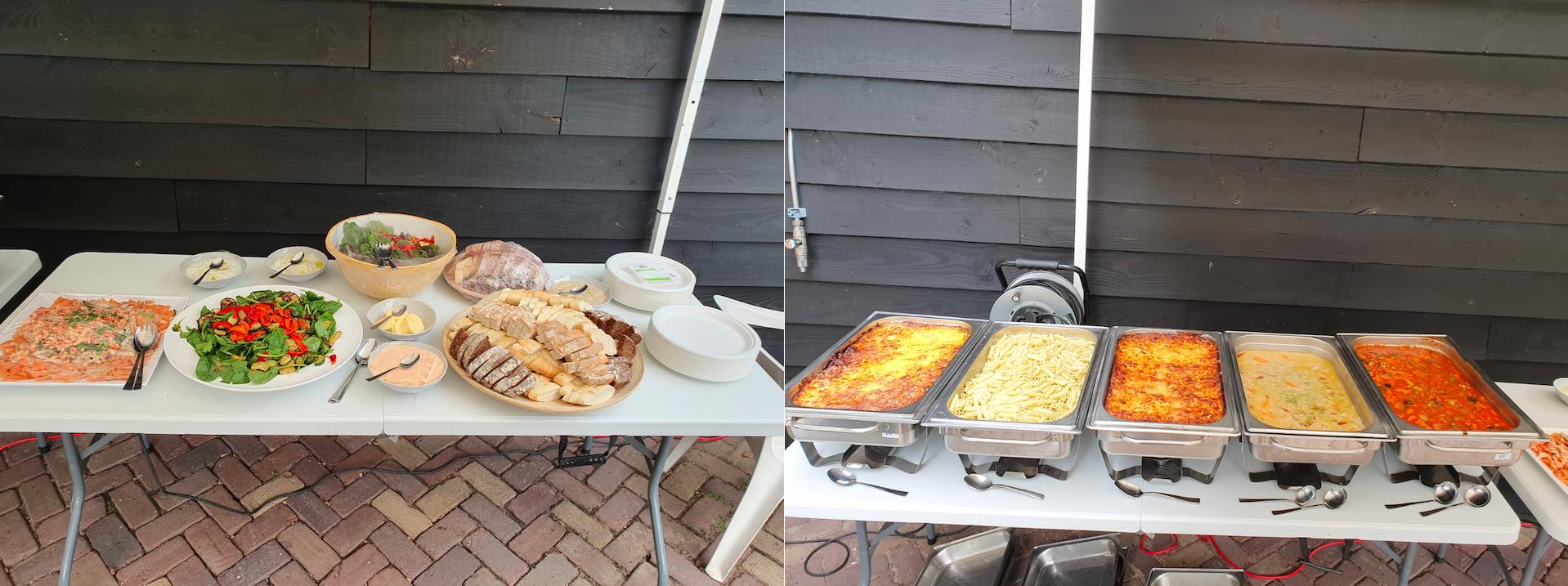 Het Italiaanse buffet op het vrijwilligersfeest van Dierentehuis Stevenshage in Leiden.