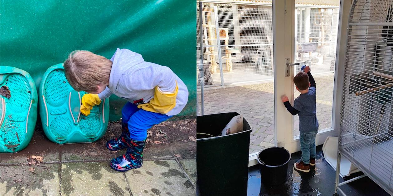 Nieuwe collega Samuël (3 jaar) begint met zijn vrijwilligerswerk.