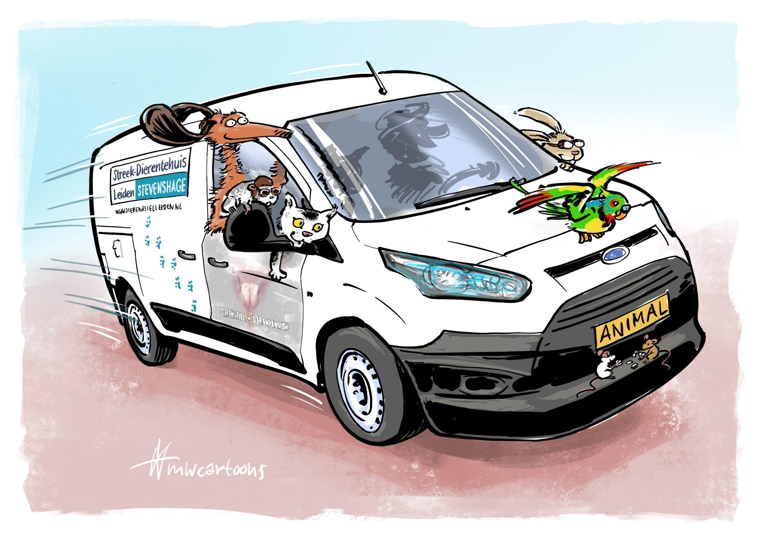 De Stevenshage asielbus, getekend door Maarten Wolterink.