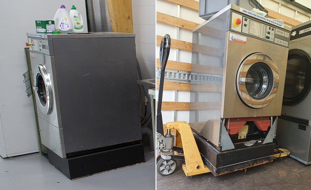 Na ruim 10 jaar trouwe dienst nemen we afscheid van de wasmachine bij Dierentehuis Stevenshage in Leiden.