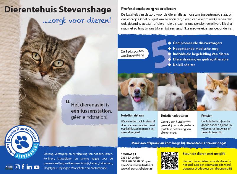 Advertentie van Dierentehuis Stevenshage in Leiden in de regionale nieuwsbladen rond Dierendag. Klik voor grote versie.